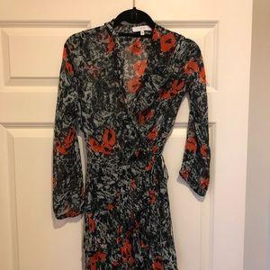 Iron wrapped floral print wrap dress.